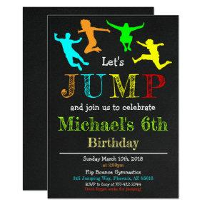 Jump Gymnastics Flip Chalkboard Boy Birthday Card