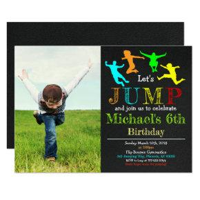 Jump Gymnastics Flip Chalkboard Boy Birthday Invitation