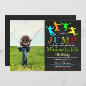 Jump Gymnastics Flip Chalkboard Boy Birthday Invitation