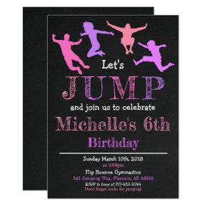 Jump Gymnastics Flip Chalkboard Girl Birthday Invitation
