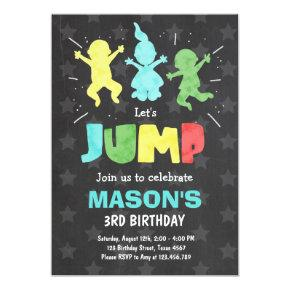 Jump Invitations Bounce house Trampoline party boy