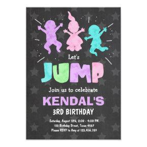 Jump Invitations Bounce house Trampoline party Girl