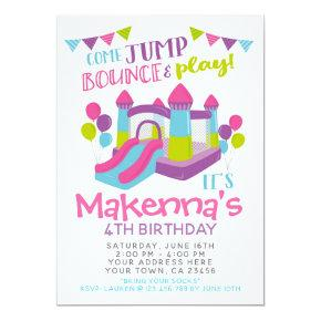 Jump Invitation, Girl Trampoline Birthday Party Invitation