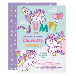 Jump party unicorn girl birthday pastel color invitation