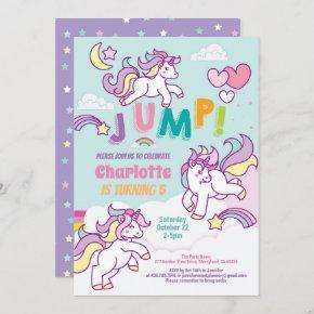 Jump party unicorn girl birthday pastel color invitation