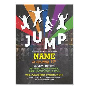 Jump Trampoline Birthday Party Boys Girls Invite