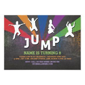 Jump Trampoline Birthday Party Jumping Invite