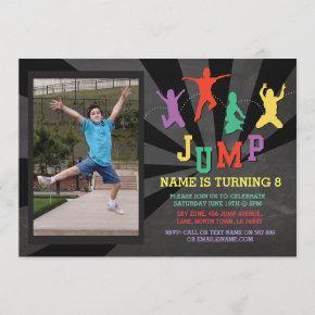 Jump Trampoline Birthday Party Photo Invite