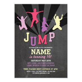Jump Trampoline Birthday Party Pink Girls Invite