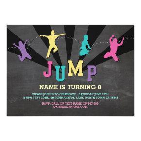 Jump Trampoline Birthday Party Teal Boys Invite