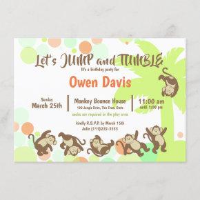 Jump Tumble Monkey Jungle Birthday Invitation