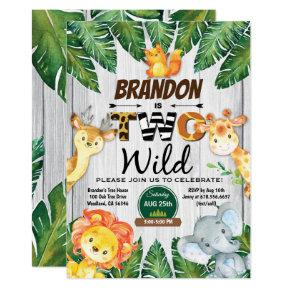 Jungle 2nd birthday invitation. Boy safari zoo two Invitation