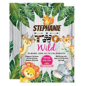 Jungle 2nd birthday invitation Girl safari zoo two