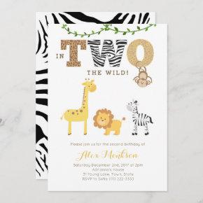 Jungle 2nd Birthday Invites, Monkey Giraffe Zebra Invitation