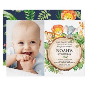 Jungle Animals 1st Birthday Greenery Safari Photo Invitation