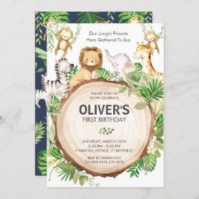 Jungle Animals 1st Birthday Party Greenery Safari Invitation