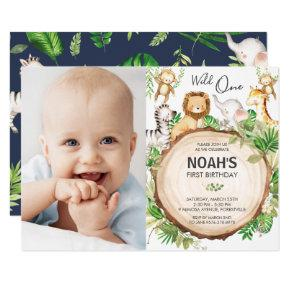 Jungle Animals 1st Birthday Wild One Green Photo Invitation