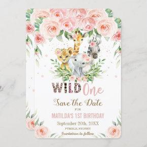 Jungle Animals Pink Floral Save the Date