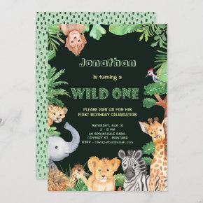 Jungle Animals Wild One First Birthday Invitation
