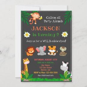 Jungle birthday invitation Party animals invite