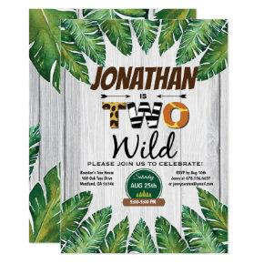 Jungle boy 2nd birthday party invitation. Safari Invitation
