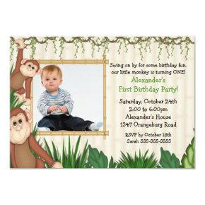 Jungle Monkey Photo Birthday Invitation