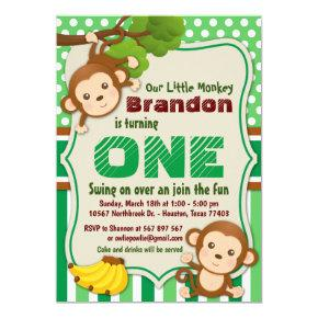 Jungle Monkey Safari Animal Kids Birthday Invitation