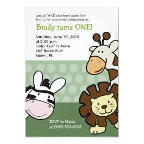 JUNGLE SAFARI 5x7 Birthday Baby Zoo Animals Invitation