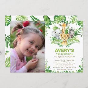Jungle Safari Animals Greenery Birthday Photo Invitation