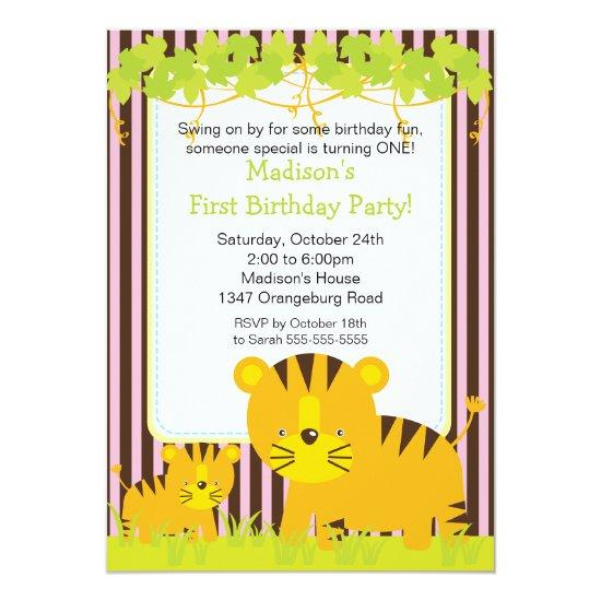 Jungle Safari Baby Tiger Birthday Party Invitation Candied Clouds