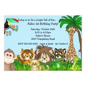 Jungle Safari Fun Birthay Party Invitations