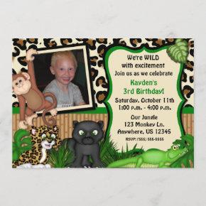 Jungle Safari Kids Birthday Invitation