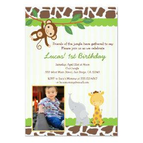 Jungle Safari Photo Birthday Invitations
