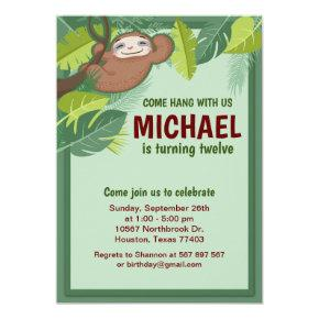 Jungle Sloth Birthday Party Invitation