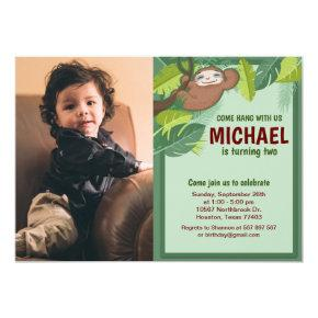 Jungle Sloth Birthday Photo Invitation
