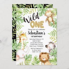 Jungle Wild One 1st Birthday Invitation Safari