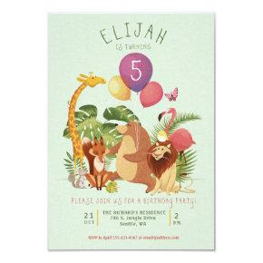 Jungle Zoo Animal Friends Birthday Party Invite