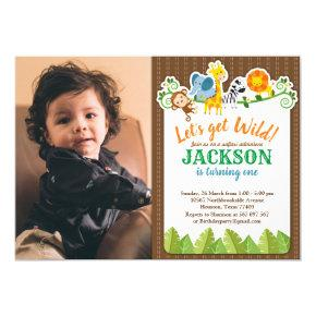 Jungle Zoo Animal Safari Adventure Birthday Photo Invitation