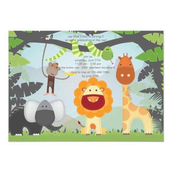 Jungle Zoo Animals Birthday Party Invitation Candied Clouds