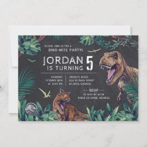 Jurassic World   Dinosaur Chalkboard Invitation