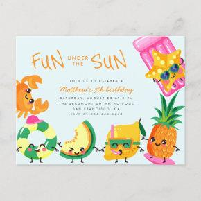 Kawaii Summer Fun Under The Sun Kids Birthday Invitation Post