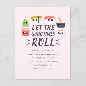Kawaii Sushi Rolls Birthday Party Invitation Post