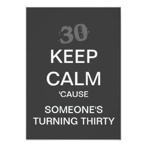 KEEP CALM 30th Birthday Party Invitation (Dark)