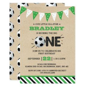 Kicking The Big One | Soccer 1st Birthday Invitation