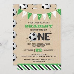 Kicking The Big One | Soccer 1st Birthday Invitation