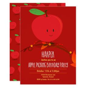 Kid's Red Apple Picking Birthday Party Invitation