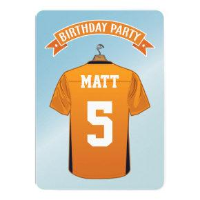 Kids American Football Jersey Orange Blue Birthday Invitation