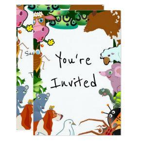 kids animals zoo creatures birthday party invite