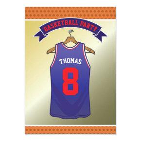 Kids Basketball Birthday Party | Blue Red Jersey Card