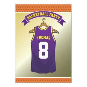 Kids Basketball Birthday Party | Purple Jersey Card